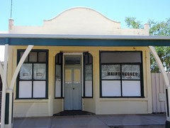 Urana NSW. Advertising on an old shop. Once a billiard hall and later a hairdressing salon. (denisbin) Tags: nsw urana soldiersmemorialhall advertising shop hairdressers marble altar billiardstables billiards