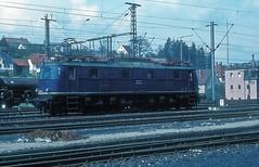 118 051  Osterburken  10.04.77 (w. + h. brutzer) Tags: osterburken eisenbahn eisenbahnen train trains deutschland germany railway elok eloks lokomotive locomotive zug 118 e18 db webru analog nikon