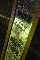 you're only half pure (15/365) (werewegian) Tags: mirror broken sign bad luck good lick shattter werewegian cowcaddens art politics jan19 365the2019edition 3652019 day15365 15jan19