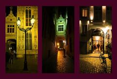 le charme des passages de Bruges (buch.daniele) Tags: danielebuch cadres bruges nuit architecture vélo réverbères jaune vert passages ruellecouverte