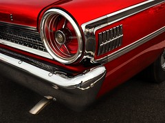Classic Red Ford Galaxie (augenbrauns) Tags: fordgalaxie vintage classic vintagecar classiccar ford car red chrome tailpipe