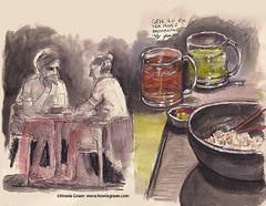 Tea Room urban sketching (Howie Green) Tags: boston brookline coolidge corner tea room urban sketching uskboston watercolor drawing painting