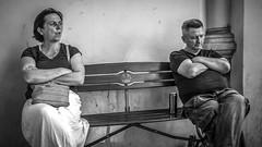 Two on a bench in Gdansk, Poland 20/7 2014. (photoola) Tags: gdansk street bänk par sv bench photoola monochrome blackandwhite poland