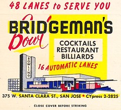 Vintage Matchbook Cover - Bridgeman's Bowl - San Jose, Calif. (hmdavid) Tags: vintage matchbook matchcover advertising midcentury art illustration 1950s bridgemans bowl sanjose california bowling downtown