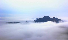 Huangshan, Out of the Blue (Eye of Brice Retailleau) Tags: angle beauty composition landscape nature outdoor panorama paysage perspective scenery scenic view extérieur ciel sky backpacking earth mountain mountains travel vista light montagne skyscape above cloud clouds cloudy cloudscape nuages nuage asia asie asian china chine chinese huangshan yellow anhui