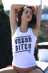 Eat the Rich (PaulHarrisImages) Tags: vegan bitch vest roof summer bluesky portrait petite