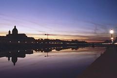 Sunset in Florence (michele.palombi) Tags: florence tuscany arno sunset kodak portra800 nikon f3 river