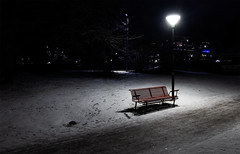 Freezing (mnords) Tags: frozen ice snow bench park urban light lamp walkway lonely lonesome stockholm winter night streetlight dark cold isolated nikon d610