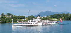 Lake Lucerne Navigation Company, Switzerland - PS Stadt Luzern approaches Luzern on the 14.00 sailing from Flüelen on the 12th July 2018 (trained_4_life) Tags: switzerland stadzluzern lakelucerne paddlesteamer paddleboat