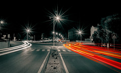 Busy night street (Dregster) Tags: street longexposure night nikon nikond7000 nightshot light lights lines noite sãobrásdealportel algarve anunes andrénunes photos photo photography portugal estrada selectivecolor traffic transito cars carros movement movimento
