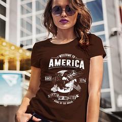 Welcome to America. Land of the Free. Women's: Gildan Ladies' 100% Cotton T-Shirt. Dark Chocolate.  | Loyal Nine Apparel (LoyalNineApparel) Tags: 2a america country countrygirl cute fashion fashionista girlsandguns girlsthatshoot girlswithguns girly homeofthebrave instafashion landofthefree loyalnineapparel loyalnineclothes ootd patriot patriotic pewpew southern stylish tee teeshirt tshirt usa womensfashion womensshirt womenstee womenwhoshoot