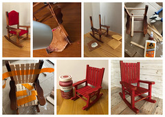 Playscale Chair Makeover (Foxy Belle) Tags: doll barbie blythe playscale dollhouse furniture thrift store rocking chair diy red paint chalk ooak makeover before after tutorial how 16 scale cabin rustic distressed wood wooden