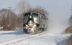 Trunk's Santa Train (GLC 392) Tags: perry mi michigan emd e9a ic illinois central gtw grand trunk western santa train christmas cold bitter snow 101 100 winter 10 years ago railroad railway passenger cn canadian national sun sunny wind windy