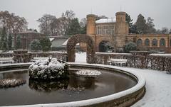 Schneefall (KaAuenwasser) Tags: schneefall botanischergarten winter schnee gebäude garten anlage pflanzen