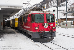 RhB 629, Scuol (MacCookie) Tags: 629 bahnhofscuoltarasp cantonofgraubünden confoederatiohelvetica engiadinabassavalmüstair europe ferroviaretica ge44ii ge44 graubünden grisons neubaualbulatunnel rhb rhaetianrailway rhätischebahn schweiz scuol suisse svizzera swissconfederation swissrailways switzerland tiefencastel advertisinglivery bahn cargotrain containertrain eisenbahn electriclocomotive engine freighttrain güterzug intermodaltrain locomotive metregaugerailway mixedfreight narrowgaugerailway railways snow winter zug