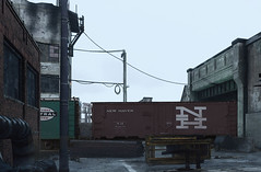 Industrial zone (Jörn Pachl) Tags: modelleisenbahn modelrailroad modelrailway mixedmediaart mixedmedia boxcar boxcars homefronttherevolution homefront photomanipulation ttscale 1120 computergame xanvast semidigitalart