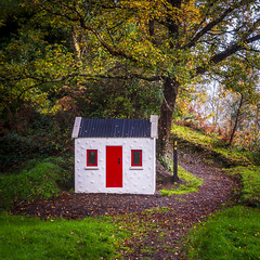 Little Cottage (burgootim) Tags: kerry ireland red door cotttage trees autumn sony woodland