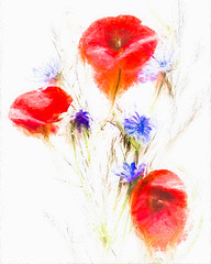 2849cTSb Red, white & blue (foxxyg2) Tags: art topaz topazsoftware topazstudio topazsimplify flowers woldflowers tabletop red white blue