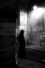 Under the lantern (pascalcolin1) Tags: paris homme man nuit night lumière light ombre shadow lanterne lantern photoderue streetview urbanarte noiretblanc blackandwhite photopascalcolin 5omm canon50mm canon