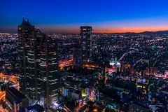Cold Night in Tokyo (Tyler_Mason) Tags: tokyo sky sunset skyline cityscape city government observation tower shinjuku tones blue orange cold night travel streets busy fuji nikon d3400 tourist