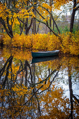Fall Reflection (djrocks66) Tags: landscapes nature fall autumn foliage color yellow orange boats pond lake moriches ny long island outdoors landscape waterscape november weather leaves trees pretty fuji fujifilm xt100