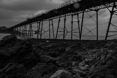 It's Fun To Be Yellow! (MrWhippy99UK) Tags: sky clouds cloud horizon island rocks rock stones slabs pier wood path walkway yellow buoy ball sea ocean water post poles stand landscape weston super mare derelict abandoned not safe old canon 1300d efs photo photography amateur coloursplash