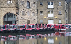Moored Up For Winter (Geoff France) Tags: landscape canal waterway marina sowerbybridge rope fender barge canalbarge rochdalecanal red boat quay wharf