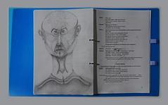 """Prompter Book Don Karlos  Page 95 - Version from the  rehearsals - Textbuch frühere Fassung aus der Probenzeit - K.: """"Glaube mir es wird ihn rühren. Er ist nicht ohne Menschlichkeit."""".... Ph.: """"Komm in die Arme deines Vaters""""  K.: """"Dein Geruch ist Mord"""" (hedbavny) Tags: face gesicht head kopf portrait porträt mann male work arbeit theater theatre book buch drama textbuch soufflierbuch prompter souffleuse weis white black schwarz mappe folder ordner schnellhefter letter beschriftung blue blau loch hole bleistift pencil zeichnung drawing sketch skizze scribble doodle kritzelei handschrift note notiz eintrag zeichen markierung sign pause pausenzeichen register schiller carlos karlos spanien spain profession handwerk probe rehearsal transparent transparenz schatten shadow schraffur hedbavny wien vienna austria"""