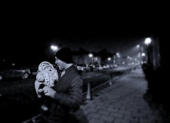 Keeping Warm (matthewblackwood10) Tags: keeping warm winter wrapped up baby son boy dad daddy father smiles cut cold bridge hamilton uk scotland black white grey greyscale light street