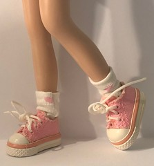 """White With Bubblegum Pink Hearts...Short Socks For Blythe... • <a style=""""font-size:0.8em;"""" href=""""http://www.flickr.com/photos/34492931@N07/45811265135/"""" target=""""_blank"""">View on Flickr</a>"""