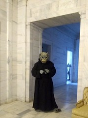 Paradox First Time Out (PhotoJester40) Tags: indoors inside mask mausoleum posing gargoyle clawfeet northeastcorridore amdphotographer monster costume paradox
