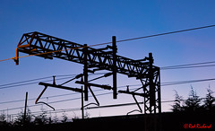 Gantry (red.richard) Tags: abstract gantry power lines railway silhouette sky dawn