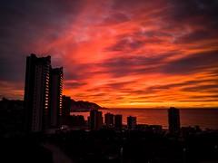 Bienvenidos al infierno Mañanas con saturación natural (Jononse) Tags: benidorm alicante amanecer dawn sunrise mañana morning burn red sky clouds sea seashore skyscraper rascacielos cityscape landscape