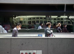 San Francisco Vintage Streetcars (Stabbur's Master) Tags: california sanfrancisco streetcar marketstreet marketstreetrailway sanfranciscostreetcar munifline muni marketstreetstretcar trolley tram publictransit publictransportation sanfranciscotrolley sanfranciscotram reflection windowreflection