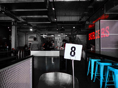 8 Burgers (Steve Taylor (Photography)) Tags: 8 burgers stool wendys architecture chair cafe blue selectivecolour red people newzealand nz southisland canterbury christchurch cbd city