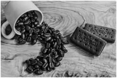 Coffee and Bourbons (nickyt739) Tags: wood coffee beans bourbon creams kitchen snack time black white bw nikon fx dslr amateur noir monochrome