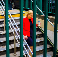 The New Yorkers - Going down (François Escriva) Tags: railings street streetphotography us usa nyc ny new york people candid olympus omd photo rue sun light woman colors sidewalk manhattan red dress subway stairs underground tube blond hair blue green