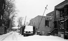 La neige était très forte cette journée-là... (woltarise) Tags: neige vent montréal quartier rosemont poteaux penchés appartements escalier film argentique ilford hp5 olympusmjii