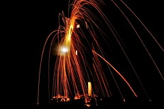 Tower of Sparks (T Macca) Tags: lumix montacute wool spinning tower night dark black orange sparks panasonic dmcg3 dof moon lights door windows