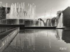 Milano - P.zza Castello Riflessi in B&W (iw2ijz) Tags: acqua blackandwhite biancoenero bw riflessi piazzacastello fontana lombardia italy italia milan milano