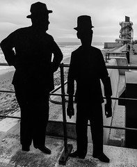 Stan and Ollie (DXW1978) Tags: redcar panasonic lumix fz80 fz82 light shadow contrast england britain gb united kingdom uk north northern northeast teesside tees black white