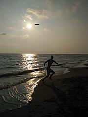summer... ((rino)) Tags: boy summer frisbee beach sand water sea italy fun sun sunset waves clouds light