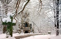"Cincinnati - Spring Grove Cemetery & Arboretum ""Dexter Mausoleum Inside Snow"" (David Paul Ohmer) Tags: cincinnati ohio spring grove cemetery arboretum dexter mausileum cross snow branches"