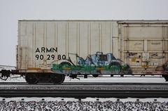 Erupto (quiet-silence) Tags: graffiti graff freight fr8 train railroad railcar art erupto a2m armn reefer unionpacific chilledexpress armn902980
