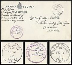 "Newfoundland / Military Postal History / Censored Canadian ""W"" Force / Canadian Army Overseas Cover - 12 February 1942 - C.A.P.O. No. 2 Gander - to Tillsonburg, Ontario, Canada (Treasures from the Past) Tags: capo canadianarmycensorship wforce censored newfoundland canadianarmyoverseas capono2 gander passedbymilitarycensor militarycensorno13"