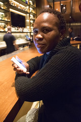 DSC_2810 Nobu Japanese Hotel Cocktail Bar Shoreditch London with Dee from Botswana on her Phone Again! (photographer695) Tags: with dee from botswana nobu japanese hotel cocktail bar shoreditch london her phone again