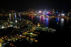 Hong Kong City Lights (` Toshio ') Tags: toshio hongkong kowloon sky100 china night city victoriaharbour harbor lightshow skyscraper water fujixt2 xt2 pier wanchai conventioncenter