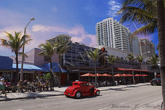 FtLaud-beach01 (moyfel56) Tags: buildings vintagecar vintageauto beachroad beachparty vintagecoupe redcar redauto vintageredcoupe amazingsky redsky moon bars clubs people peopleparty
