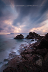 Sunset sur la plage des rochers à Cannes-La-Bocca ( France ) (Yannick Lefevre) Tags: europe france alpesmaritimes cannes cotedazur frenchriviera plage seascape landscape longexposure beach coast coastline shore shoreline rockscape rocks rocher sunset sun skymotion sky clouds nikon nikkor raw nef lightroomcc photoshopcc esterel poselongue paysage mer colors flickr cielo outside ciel colours