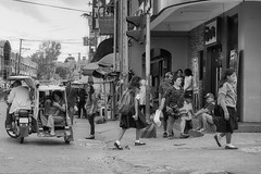 Busy corner (Beegee49) Tags: street corner busy activity people pedestrians blackandwhite monochrome bw happy planet luminar sony a6000 silay city philippines asia